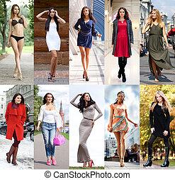 美麗, 年輕婦女, 步行, 在街道上