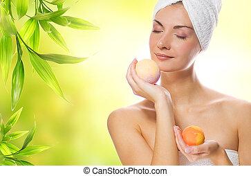 美麗, 年輕婦女, 由于, 芳香, 肥皂