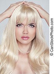 美麗, 年輕婦女, 由于, 長, 白膚金發碧眼的人, hair., 相當, 模型, 看