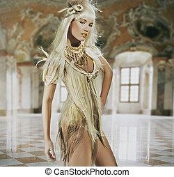 美麗, 年輕的女士, 站立, 在, a, 時髦, 內部