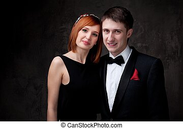 美麗, 年輕, 夫婦。