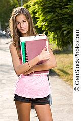 美麗, 年輕, 學生, 女孩, 顯示, 拇指, 向上。