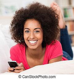 美麗, 年輕, 非裔美國人 婦女