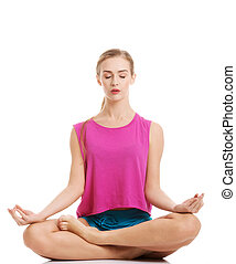 美麗, 年輕, 高加索人, 婦女, 是, 行使, 做, yoga.