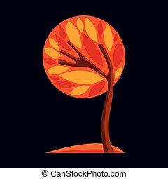 美麗, 形象藝術, 幻想, eco, 季節, 圖像, 符號。, 插圖, 被風格化, 樹, 想法, 矢量, 設計, picture.