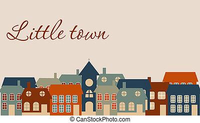 美麗, 很少, town., 插圖, 矢量, 卡片