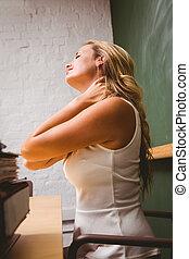 美麗, 從事工商業的女性, 由于, 脖子, 疼痛, 在, 辦公室