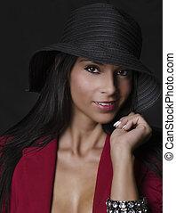 美麗, 性感, 婦女, 在, 帽子
