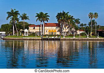 美麗, 房子, 市區, 在, the, 濱水區, 邁阿密, 南方