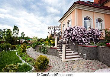 美麗, 房子, 院子