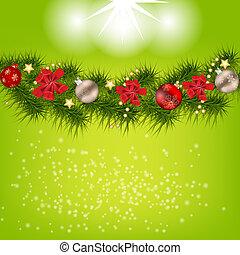 美麗, 摘要, 插圖, 背景。, 矢量, 年, 新, 聖誕節
