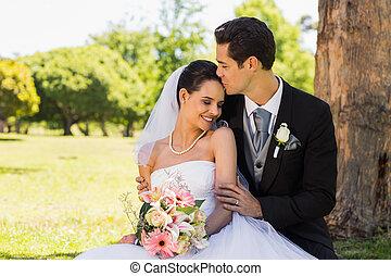 美麗, 新娘, 他的, 親吻, 新郎
