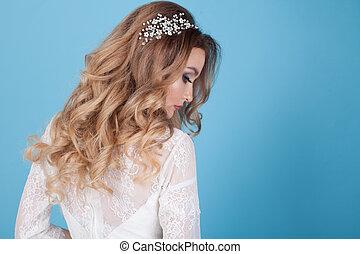 美麗, 新娘, 發型, 捲曲, 頭髮