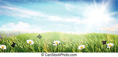 美麗, 春天, 草地