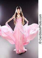 美麗, 時裝, 女孩, 模型, 矯柔造作, 在, 吹, 透明, 雪紡綢