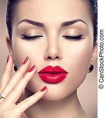 美麗, 時裝, 婦女, 模型, 表面肖像, 由于, 紅的lipstick, 以及, 紅色, 釘子
