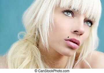 美麗, 時裝, 綠色的背景, 肖像, 白膚金髮, 女孩