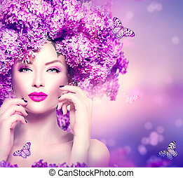 美麗, 時髦模型, 女孩, 由于, 紫丁香, 花, 發型
