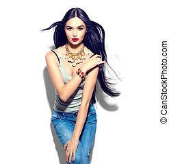 美麗, 時髦模型, 女孩, 由于, 長, 直接, 飛行頭髮