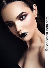 美麗, 時髦模型, 女孩, 由于, 黑色, 做, 向上。, 黑暗, lipstick.