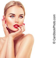 美麗, 時髦模型, 婦女, 由于, 金髮, 紅的lipstick, 以及, 釘子