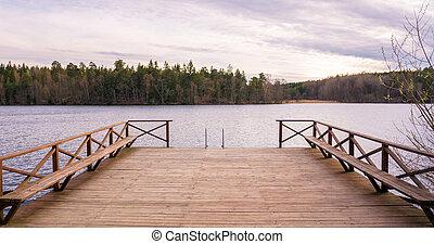美麗, 木制, 邊, 湖, 甲板