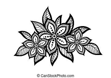 美麗, 植物的模式, a, 設計元素, 在, the, 老, style.