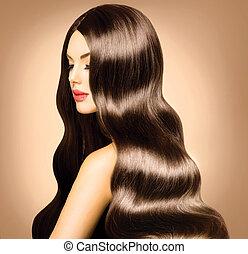 美麗, 模型, 女孩, 由于, 長, 健康, 波狀的頭發, 以及, 完美, 构成