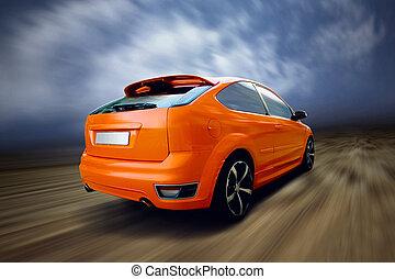 美麗, 汽車, 運動, 路, 橙