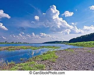美麗, 河, 陽光充足的日, 風景