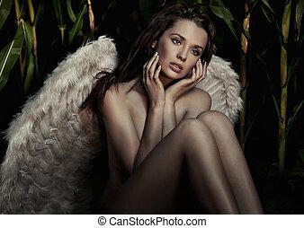 美麗, 浪漫, 天使, 年輕