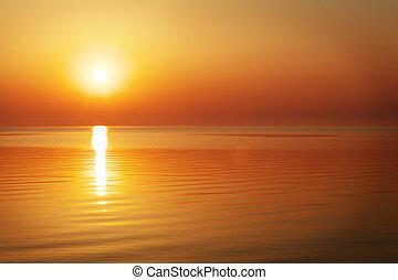 美麗, 海, 在上方, 傍晚, 海洋, 日出