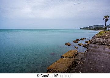 美麗, 海, 風景, 在, ajaria, 佐治亞