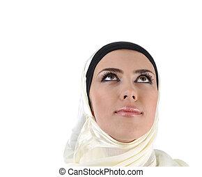 美麗, 深思, 穆斯林, 婦女看, 向上, -, 被隔离, 在上方, 白色