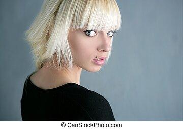 美麗, 灰色, 時裝, 背景, 白膚金髮, 女孩