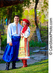 美麗, 烏克蘭人, 夫婦, 被給穿衣, 在, 傳統, 服裝