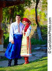 美麗, 烏克蘭人, 被給穿衣, 夫婦, 服裝, 傳統