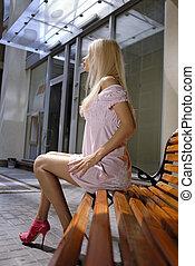美麗, 白膚金髮, 婦女, 上, 長凳