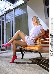 美麗, 白膚金髮, 婦女, 上, a, 長凳