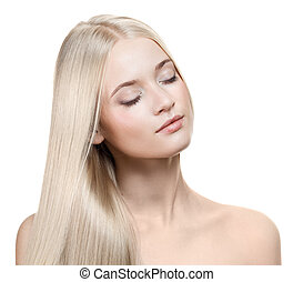 美麗, 白膚金髮, girl., 健康, 長的頭髮麤毛交織物