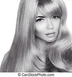 美麗, 白膚金髮, girl., 健康, 長, 卷曲, hair., 時裝, 黑白的照片, ......的, 婦女