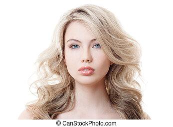 美麗, 白膚金髮, girl., 健康, 長, 卷曲, hair.