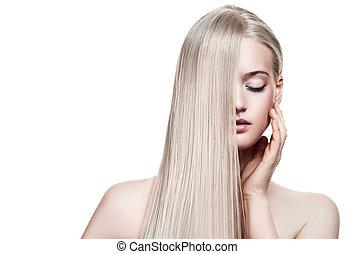 美麗, 白膚金髮, girl., 健康, 長, hair., 空間, 為, 正文