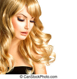 美麗, 白膚金髮, woman., 美麗, 女孩, 由于, 長, 卷曲, 金髮