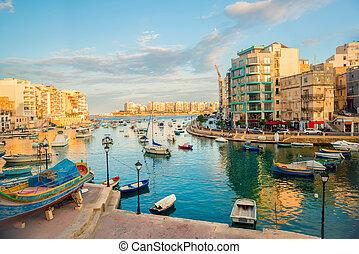 美麗, 看法, ......的, 港口, 由于, 馬爾祂, 游艇, 以及, 小船, 在, 街, julians, 到, sliema, spinola, 海灣, 馬耳他