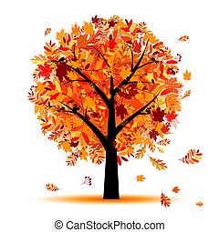 美麗, 秋天, 樹, 為, 你, 設計