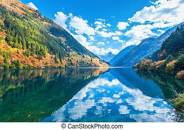 美麗, 秋天, jiuzhaigou, 湖, 犀牛