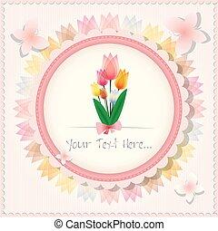 美麗, 粉紅色, 葡萄酒, 郁金香, 背景, 或者, 卡片