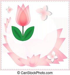 美麗, 粉紅色, 郁金香, 卡片