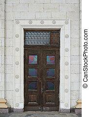 美麗, 老, 木制的門, 在, a, 歷史 大廈